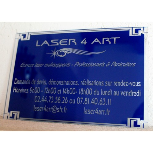 Plaque professionnelle en plexiglas transparent ou coloré format 200 x 150 mm